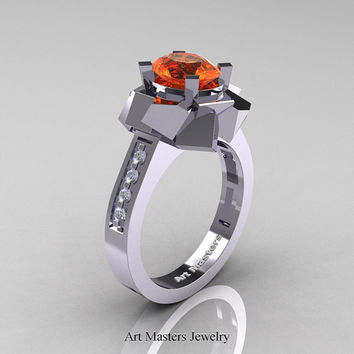 New Modern 14K White Gold 1.0 Ct Oval Orange Sapphire Accent White Diamond Engagement Ring AR136-14KWGDOS