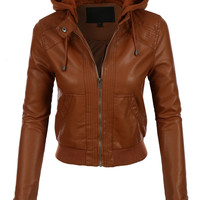 Solid Color Faux Leather Women Hooded Jacket