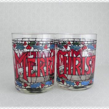 Merry Christmas Glasses, Vintage Barware, Double Old Fashioned, Holiday Glassware, 2 Cera 12 oz, Holly Stained Glass, Cocktail Party Glasses
