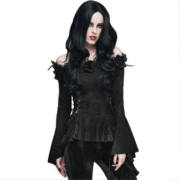 Gothic Women Lace Victorian Blouse Flare Sleeve Steampunk Shirt
