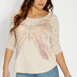 plus size tee with butterfly graphic and lace sleeves