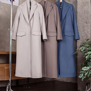 Grey Coat Gray Coat Spring Women Coat Grey Wool Coat Maxi Coat Trendy Coat Long Coat Classy Coat Gray Outwear Wrap Coat