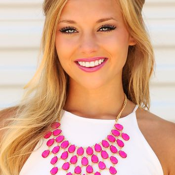 Top It Off Necklace: Berry/Gold