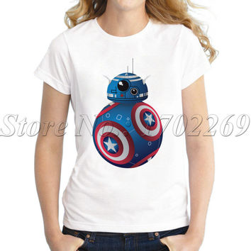 Hot Sales women cartoon printed t-shirt short sleeve casual slim lady tops Deadpool Droid novelty funny cool tee shirts