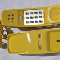 Vintage Western Electric AT&T Bell Trimline Touchtone Phone Yellow Retro 1980s Telephone