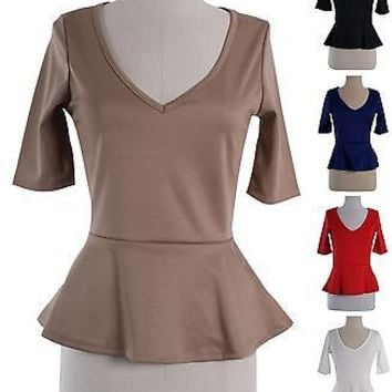 Sexy Fitted V Neck 3/4 Sleeve Tunic PEPLUM Skater Top Blouse