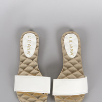 Quilted Open Toe Slip On Flat Sandal