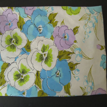 Vintage Bedding Pansy Flowers Purple Flower Bedding Blue Flower Power FULL Size Fitted Sheet Kids Bedding Girls Bedding Clean Used
