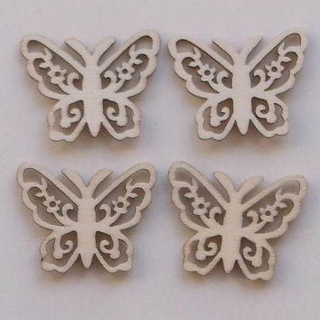 Set composed by 4 Wooden Butterflies, Lasercut, Embellishments for Craft Projects