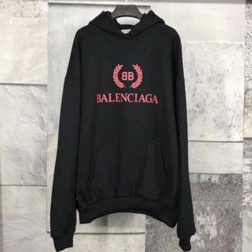 Balenciaga Women Fashion High quality Rose red Print Long Sleeve Pullover Hoodie Sweater G
