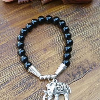 Original Collection- Silver Tone Chinese Elephant/Black Beaded Hand Made Bracelet