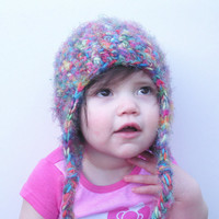 Rainbow Multicolor Fuzzy Crochet Earflap Beanie Hat, infants 12-24 months, ready to ship.