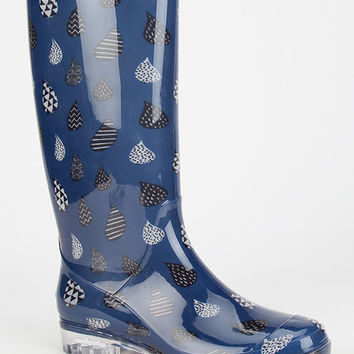 Toms Raindrop Print Womens Cabrilla Rain Boots Blue  In Sizes