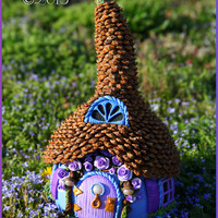 Fairy Cottage - Whimsical OOAK Fairy Abode - Gourd, Polymer Clay, Pinecone Roof