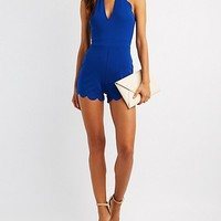 Scalloped Cut-Out Bib Neck Romper