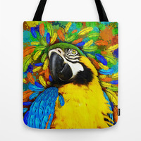 Gold and Blue Macaw Parrot Fantasy Tote Bag by BluedarkArt