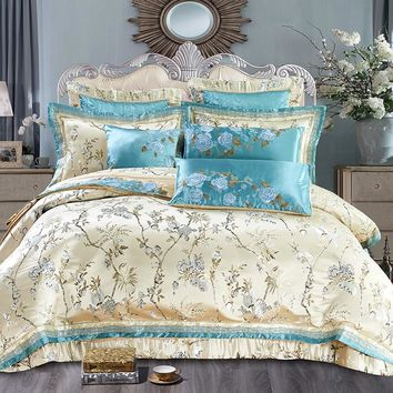 Luxury Queen King Bedding set Embroidery Satin Cotton Bed cover Wedding Bedspread sheet set Duvet cover juego de cama literie