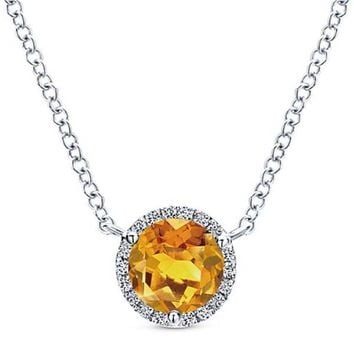 Gabriel Round Cut Citrine & Diamond Halo Pendant