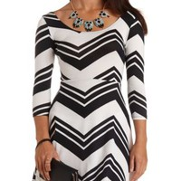 Sweater Knit Chevron Skater Dress by Charlotte Russe - Black Combo