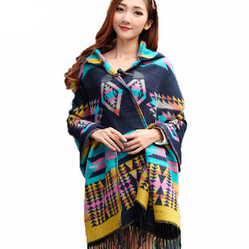 Oversized Cardigan 2016 Female Bohemia Tassel Knitted Acrylic Cardigans Kimono Plaid Cape Poncho Wool Scarf Shawl Women Lady