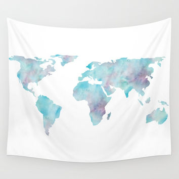 World Map Ocean Blue Wall Tapestry by MapMaker