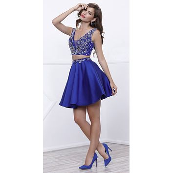 Royal Blue Beaded Crop Top Two-Piece Homecoming Short Dress V-Neck
