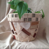 Flower pot, handmade mosaics, oudoor living, indoor planter, patio, houswarming gifts, terra cotta,