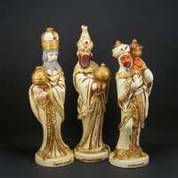 "Vintage Nativity Three Wisemen Figurines Circa 1970 Christmas Decoration Paper Mache Made in Japan by Wolin 10""x3"""