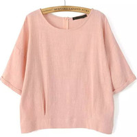 Pink Round Neckline Loose Fitting Crop Blouse