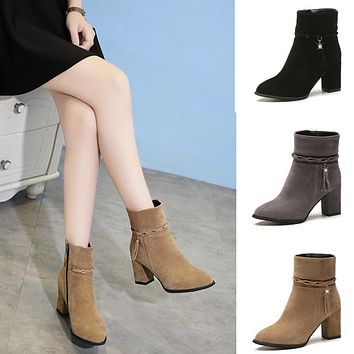 Women Suede Tassel Ankle Boots Round Toe Winter Western Stretch Fabric Boots With zipper