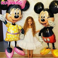 1pc 110cm Giant Mickey Minnie Mouse Foil Balloons Red Yellow Bowknot Standing Airwalker Kids Birthday Party Decorations Globos