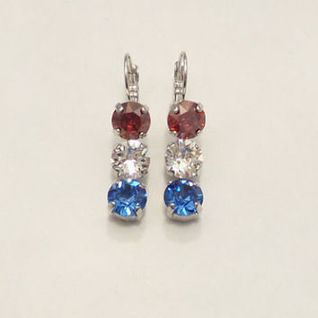 SWAROVSKI CRYSTAL EARRINGS,patriotic,meaning, triple stone, red white and blue, military, fourth of july, dksjewelrydesigns
