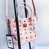 MCM Museum Series Studded Shopping Bag Bag Messenger Bag Shoulder Bag Tote Bag  pink