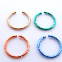 316L Surgical Steel Nose Ring - inner diameter 8mm - Nose Hoop - Thin Nose Ring - Nose Piercing ,  Tragus ,Cartilage ear .