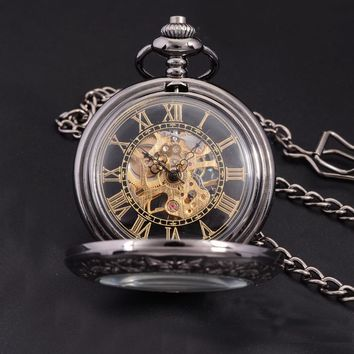 Steampunk Luxury Fashion Antique Skeleton Mechanical Pocket Watch Men Chain Necklace Business Casual Pocket & Fob Watches Gold
