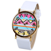 White Leather Quartz Watch with Wave Pattern
