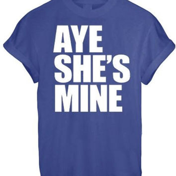 AYE HE#039;S SHE#039;S MINE MICKEY MOUSE HAND PRINTED t shirt Top Tee size XS S M L XL - BLUE