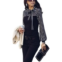 Allegra K Women Self Tie Knot Stand Collar Striped Autumn Shirt Black XS
