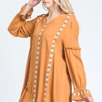 Embroidered Tunic with Light Ruffle