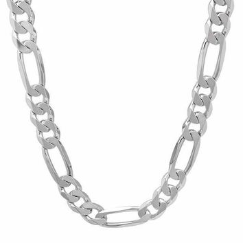 Sterling Silver Italian Figaro Chain Necklace For Men