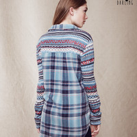 Tokyo Darling Knit-Accent Plaid Flannel Shirt