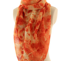 Eucalyptus eco print,  super fine merino wool scarf, red orange leaf print, long wool shawl, eco dyed wool woven scarf, autumn winter scarf