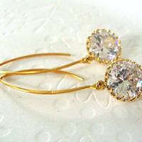 Bridal earrings / Bridal Jewelry / Large round cubic Zirconia dangle from vermeil gold marquise earrings