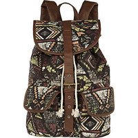 Brown ethnic print rucksack