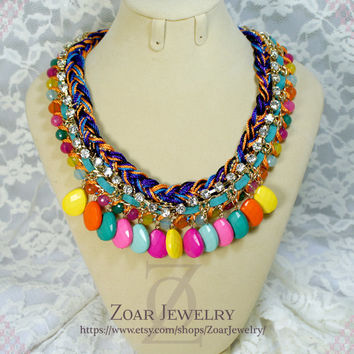 J'crew Style inspired Colorful Braided Fashion Party Necklace,beadwork necklace,kate spade necklace