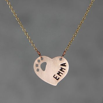 Personalized 14k rose gold filled intial monogram paw heart pendant necklace copper Bridesmaids gifts Free US Shipping handmade Anni Designs