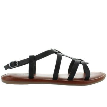 Mia Buttercup   Black Leather Strappy Flat Sandal