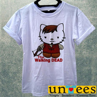 Cute Daryl Dixon Hello Kitty Funny The Walking Dead Women T Shirt