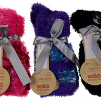 Lot of 6 Pairs Crew Socks Nobo No Boundaries 4-10 Women Feather Fuzzy Warm Cozy