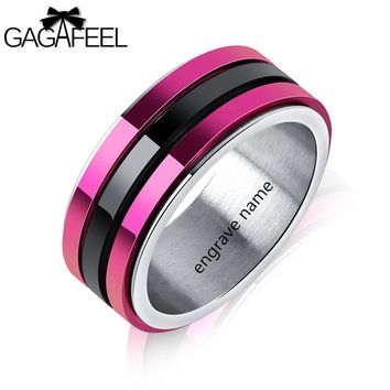 GAGAFEREL laser Engrave Stainless Steel Ring For Men Jewelry Turn Three Layers Fingle Black Purple Titanium Rings Male Gifts